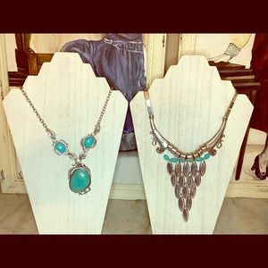 2 turquoise costume  necklaces